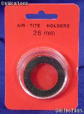 "Air-Tite Coin Capsule ""H"" Black Ring Coin Holder for 26mm Coins SMALL DOLLAR"