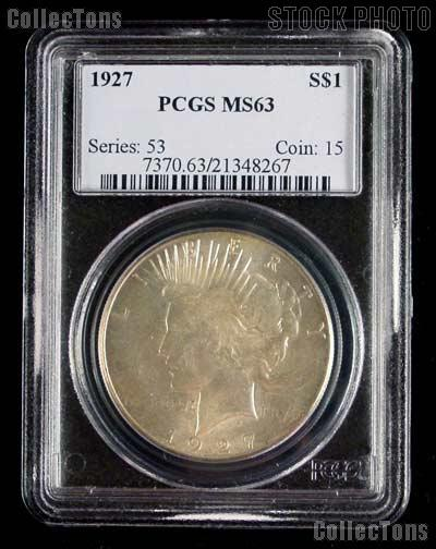 1927 Peace Silver Dollar in PCGS MS 63