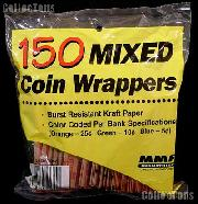 150 Kraft Paper Coin Wrappers Mixed 1c 5c 10c 25c