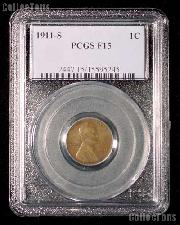 1911-S Key Date Lincoln Wheat Cent in PCGS F 15