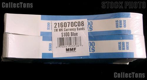 Currency Straps $100 Blue for 100 One Dollar Bills Pack of 1,000 Bands
