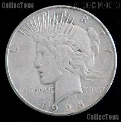 1928 S Peace Silver Dollar Circulated Coin VG 8 or Better