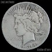 1934 D Peace Silver Dollar Circulated Coin VG-8 or Better