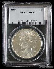 1934 Peace Silver Dollar in PCGS MS 64
