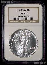 1992 American Silver Eagle Dollar in NGC MS 69