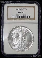 1986 American Silver Eagle Dollar in NGC MS 69