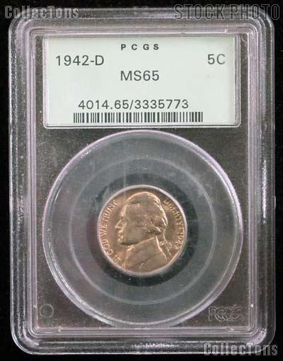 1942-D Jefferson Nickel in PCGS MS 65