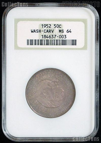 1952 Washington-Carver Silver Commemorative Half Dollar in NGC MS 64