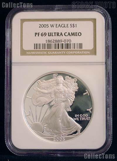 2005-W American Silver Eagle Dollar PROOF in NGC PF 69 ULTRA CAMEO