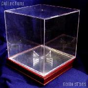 Basketball Display Case w/ Wood Stand by BCW BallQube Wood Base with Basketball Holder