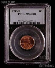 1942-D Lincoln Wheat Cent in PCGS MS 66 RD