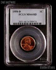 1958-D Lincoln Wheat Cent in PCGS MS 66 RD