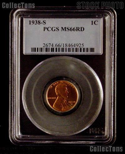 1938-S Lincoln Wheat Cent in PCGS MS 66 RD (Red)