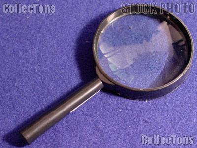 "6x Magnifying Glass BLACK Plastic Hand Held 3"" Glass Lens Magnifier"