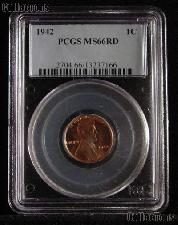 1942 Lincoln Wheat Cent in PCGS MS 66 RD (Red)