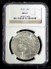 1935 Peace Silver Dollar in NGC MS 61