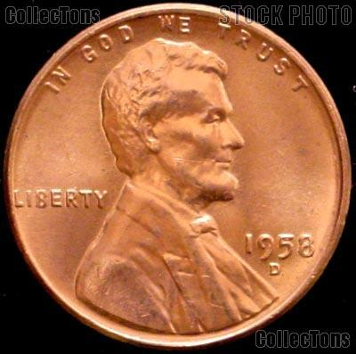 1958-D Lincoln Wheat Cent GEM BU RED Penny for Album