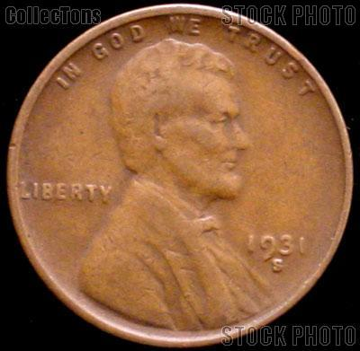 1931-S Wheat Penny Lincoln Wheat Cent Circulated G-4 or Better KEY DATE