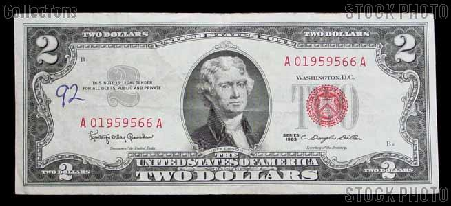 Two Dollar Bill Red Seal Series 1963 US Currency