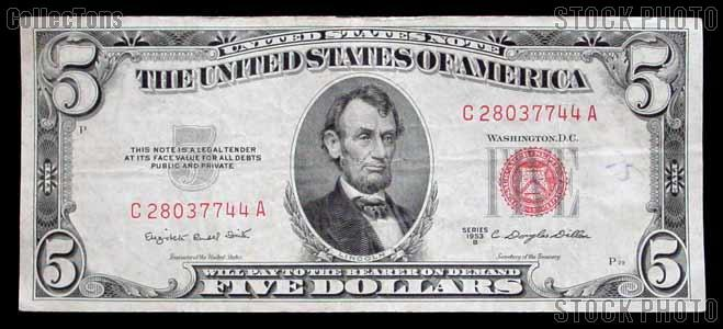 Five Dollar Bill Red Seal Series 1953 US Currency
