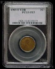 1909-S VDB Lincoln Wheat Cent KEY DATE in PCGS F-15