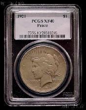 1921 Peace Silver Dollar KEY DATE in PCGS XF 40