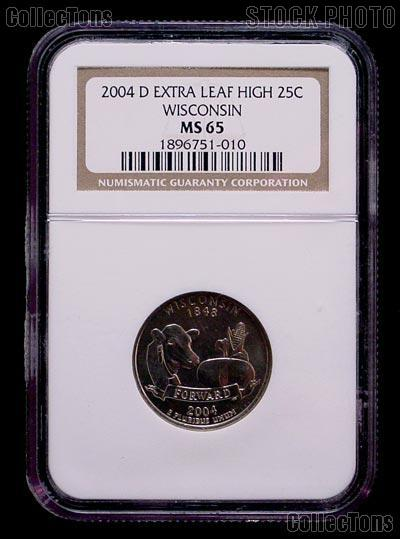 "2004-D ""Extra Leaf High"" Wisconsin State Quarter in NGC MS 65"
