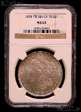 1878 7TF Rev of 78 Morgan Silver Dollar in NGC MS 63