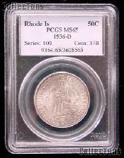 1936-D Providence Rhode Island Tercentenary Silver Commemorative Half Dollar in PCGS MS 65
