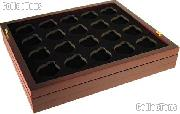 "Coin Tray for 20 Air-Tite ""T"" Capsules fits in Mahogany Wood Coin Display"