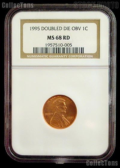 1995 Doubled Die Obverse DDO Lincoln Memorial Cent in NGC MS 68 RD (Red)