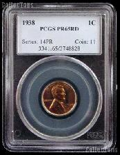 1938 Lincoln Wheat Cent PROOF in PCGS PR 65 RD