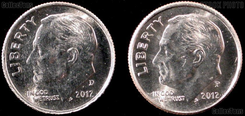 2012 P & D Roosevelt Dime GEM BU 2012 Dimes Perfect for Album