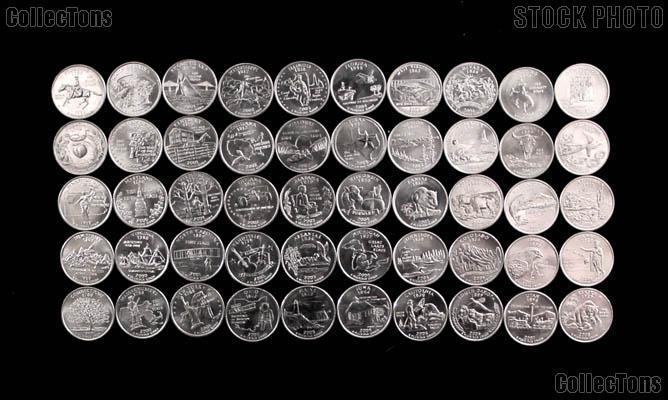 "1999-2008 State Quarter Set Denver ""D"" Mint 50 Uncirculated Coins in Tube"