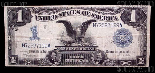 """One Dollar Bill Silver Certificate """"Black Eagle"""" Large Size Series 1899 US Currency"""