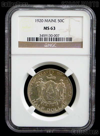 1920 Maine Centennial Silver Commemorative Half Dollar in NGC MS 63