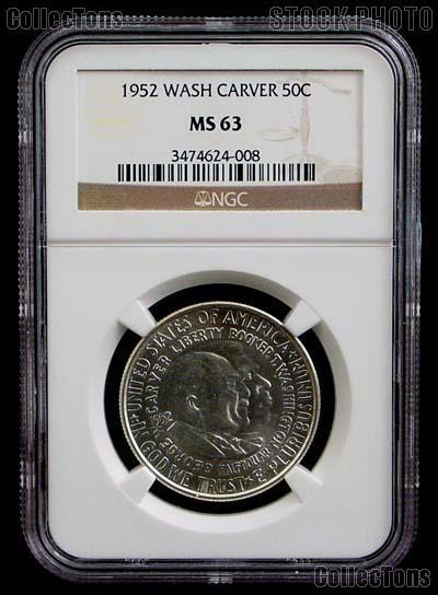 1952 Washington-Carver Silver Commemorative Half Dollar in NGC MS 63
