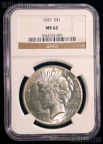 1927 Peace Silver Dollar in NGC MS 62