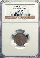 1922 NO D Strong Reverse Lincoln Wheat Cent KEY DATE in NGC VG 8 BN (Brown)