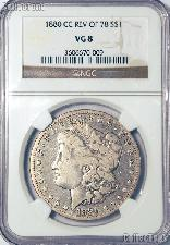 1880-CC REV of 78 Morgan Silver Dollar in NGC VG 8