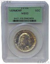 1927 Vermont Sesquicentennial Commemorative Silver Half Dollar in PCGS MS 63