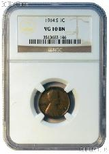 1914-S Lincoln Wheat Cent KEY DATE in NGC VG 10 BN