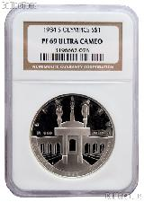 1984-S Los Angeles Olympiad Olympic Coliseum Commemorative Proof Silver Dollar in NGC PF 69 Ultra Cameo