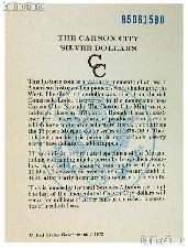 1885 GSA Carson City Silver Dollar Government Issued OGP Replacement Certificate of Authenticity COA