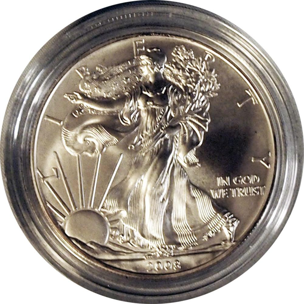 2008-W American Silver Eagle Dollar Burnished Reverse of 2007 1oz BU Silver Coin w/ Box & COA