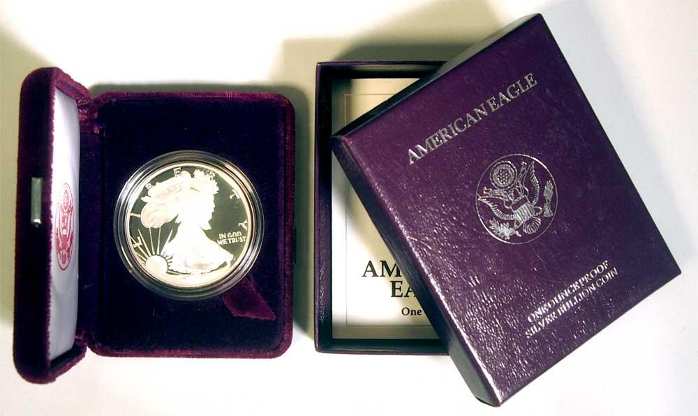1991 Silver Eagle PROOF In Box with COA 1991-S American Silver Eagle Dollar Proof