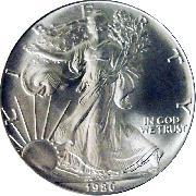 1986 American Silver Eagle Dollar BU 1oz Silver Uncirculated Coin