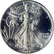 1989 American Silver Eagle Dollar BU 1oz Silver Uncirculated Coin