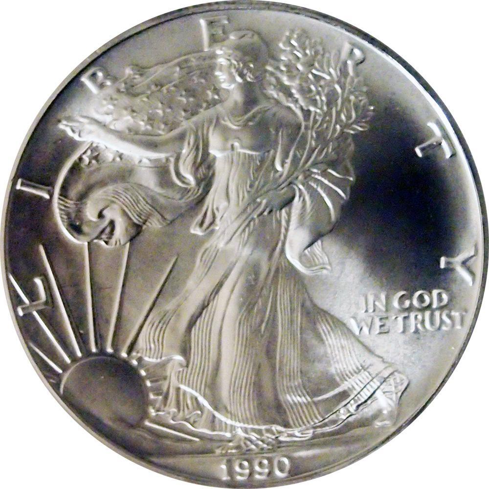 1990 American Silver Eagle Dollar Bu 1oz Silver