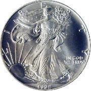 1992 American Silver Eagle Dollar BU 1oz Silver Uncirculated Coin